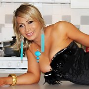 Pretty Blonde Shemale Teasing On Kitchen Counter