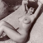 Naked Lady Outdoors In Black And White Vintage Photo