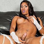 Ebony Shemale Grabs Her Junk