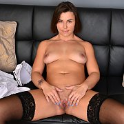 Brunette Milf In Stockings Finger Bangs