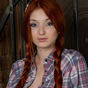 Braided Red Pigtails Teen Erotica Model