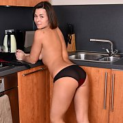Petite Milf In The Kitchen Strips And Diddles
