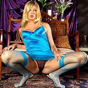 Blue Stockings And Lingerie Babe