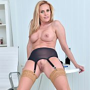 Busty Blonde Milf In Stockings