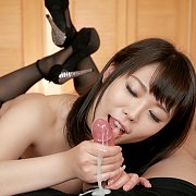 Yui Kawagoe In Lingerie And Stockings Gives Handjob