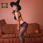 Sexy Halloween Witch In Nylons