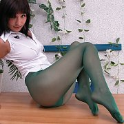 Green Nylons Woman On Desk