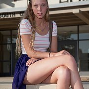 Sweet College Girl Teasing At Campus