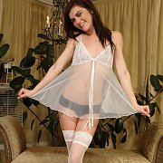 Emma In Her Sheer White Nightie