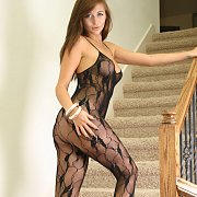 London Hart Wearing Bodystocking Lingerie And Heels