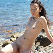 Nude Petite Teen With Fuzzy Twat Outdoors
