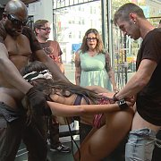 Lexington Steele Drags His New Whore To An Interracial Fuck Fest with Sadie Santana