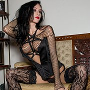 Arousing Net Lingerie On A Raven Haired Girl