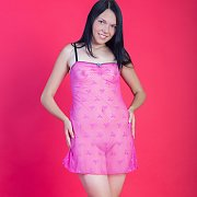 Blue Eyes Raven Haired Gal Strips Nightie