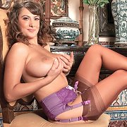 Big Boobs Brunette Babe In Stockings