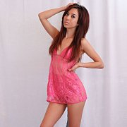 Asian American Teen In Pink Lingerie