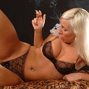 Smoking Amateur Blonde In Underwear