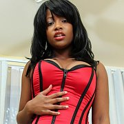 Black Girl Amber In Bustier And Shorts