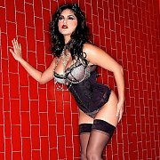 Hot Babe Sunny Leone Teasing In Lingerie And Stockings