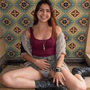 Latina Coed Gives Panty Peeks Outside