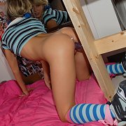 Pigtails Blonde Teen Bangs Her Bed