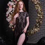 Pale Redhead Strips Off Lace Lingerie