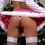 Panty Flashing Xmas Coed In Helper Outfit