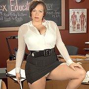 Big Boobs Brunette Teacher Strips In Class