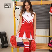 Cheer Uniformed Coed Girl Holding Jump Rope