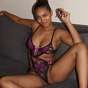 Busty Ebony Girl Teases In Lingerie