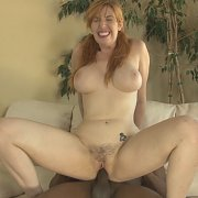 Busty Redhead Milf With Pigtails Riding Black Cock