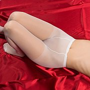 White Pantyhose Asian Laying On Red Silk