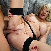 Busty Grandma Banged In Stockings