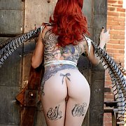 Fine Butt Redhead Centerfold With Tats