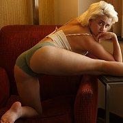 Pantie Teasing Freckled Blonde Girl