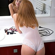 White Teddy Lingerie Teen In The Mirror