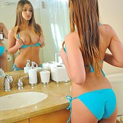 Bikini Teen Flashing Her Tits In A Mirror