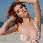 White Micro Bikini Redhead Girl At Beach