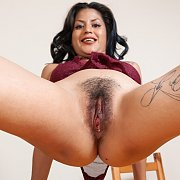 Latina In Crab Crawl Showing Furry Snatch
