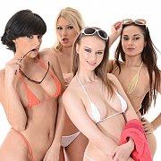 Four Bikini Babes Pose Together
