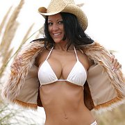 White Bikini Posing Raven Haired Model Outside