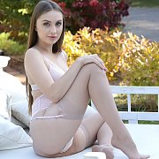 Beautiful Stockings Brunette On The Patio