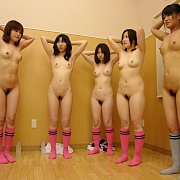 Naked Asian Girls With Hands Behind Their Heads