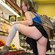 Showing Her Thong In The Grocery Store