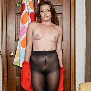 Topless Young Amateur Lady In Pantyhose