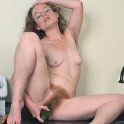 Pale Redhead Slides Veggie Into Hairy Pleasure