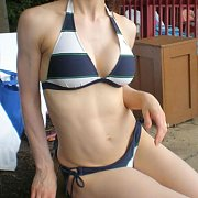 Firm Tummy Thirty Something In Bikini On The Patio