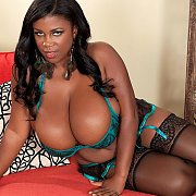 Large Breasted Black Babe In Lingerie