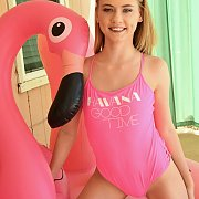 Petite Blonde Teen In Her Pink Swimsuit