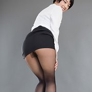 Lusty Nylons Asian In Heels Looking Back